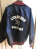 VINTAGE DeLong 80's 90's Satin Jacket Navy Blue red Bomber Vikings Size 2XL
