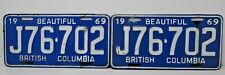 1969 BC British Columbia License Plate Matching Pair Original Rare