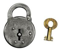 "Vintage BELFRY SIX LEVER PADLOCK with Key 2¼"" Tall - ref.P541"