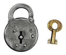 """Vintage BELFRY SIX LEVER PADLOCK with Key 2¼"""" Tall - ref.P541"""