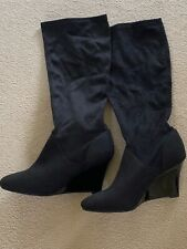BNWT M & S BLACK INSOLIA WEDGE LONG BOOTS - SIZE 8!!