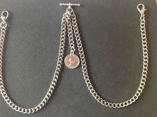 New Silver Colour Double Albert Pocket Watch Chain Old Sixpence Fob ER II
