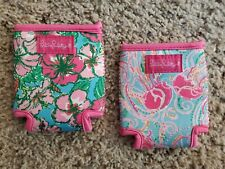 LILLY PULITZER Can Koozies Jelly Fish And Flower Printed Pair Of 2