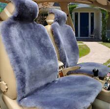 2pcs Gray Australia Genuine Sheepskin Seat Covers Fur Car Seat Cover Warp Winter
