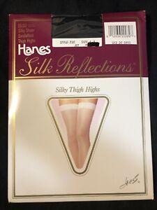 Hanes Sz A-B Silk Reflections Silky Sheer Thigh High Sandalfoot Nylon Spandex US