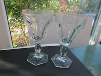 """2 Heisey Colonial Clear Goblet Water  6.50""""  (Stem # 351) signed"""