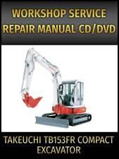Takeuchi Tb153fr Compact Excavator Service Repair Manual On Cd