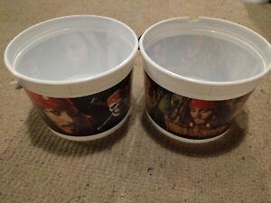 Large Disney Pirates of the Caribbean Dead Mans Chest Movie Popcorn Bucket x2