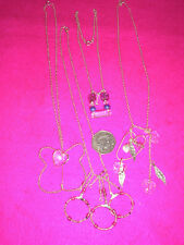 COLLECTABLE COSTUME JEWELLERY NECKLACE X 4 SILVER METAL BUTTERFLY/HEART/BEADS
