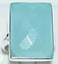 Aqua Blue Natural Gemstone Ring Real, 925 Sterling Silver All Sizes O 7 To Z 12½
