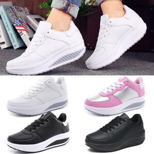 Womens Walking Fitness Shape Ups Toning Shoes Platform Wedge Jogging Sneakers