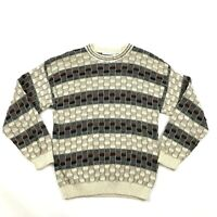 VINTAGE Geoffrey Beene Coogi Style Sweater Men's Size Large L 3D Cable Knit USA