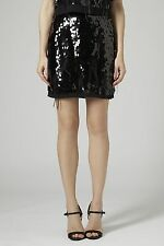 Topshop Nuovo con Etichetta Woman's Petite Limited Edition Nero Paillettes Piuma Gonna UK8 US4