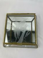 VINTAGE BRASS GLASS MIRROR VANITY TRINKET BOX SLANTED DESIGN ETCHED  BIRD