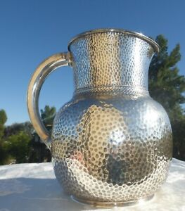 MAGNIFICENT AMERICAN ANTIQUE GORHAM Hammered STERLING SILVER PITCHER 1870s