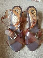 Juju - Jelly Strap Brown Wedge Heel Sandles - Size 6