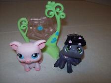Littlest Pet Shop~#329~Spider Polka Dot Hat~Green Eyes~#330 Pink Pig~Spider Web
