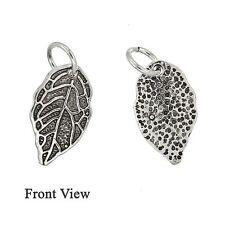 Antique Sterling Silver Leaf Dangle Pendant Charm Bead 1pc #97539