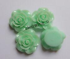 3pz abbellimenti fiore  CABOCHON in resina  20x8mm colore verde acqua
