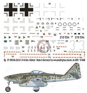 Peddinghaus 1/48 Me 262 A-1a Schwalbe White 3 Markings Adolf Galland JV 44 1008
