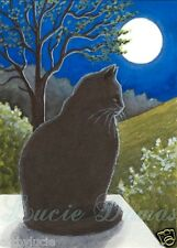 ACEO art print black Cat 544 from original painting by L.Dumas