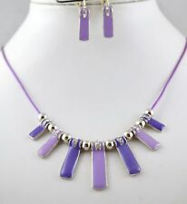 TWO TONE PURPLE ENAMAL & SILVER BEADS CORD NECKLACE SET