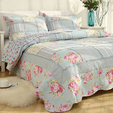 King/Queen ShabbyChic Cotton Patchwork Quilted Coverlet/BedSpreads 3Pc Set-Blue