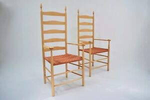 Shaker Elder`s chair, a pair, maple frame woven seat, 2003 English