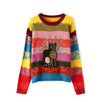 womens Rainbow cat Embroidery Wool Blend cashmere Jumper Sweater pullover