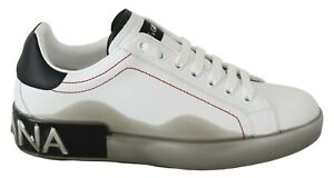 DOLCE & GABBANA Shoes Sneakers White Leather Gray Logo Mens s. EU39 / EU39.5
