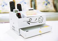 Wood Desk Organizer Office Home Cosmetics Tissue Holder Storage Box Desktop Tray