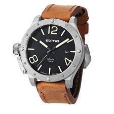 Extri Steel Inox Black Quartz Date Brown Leather Sapphire Diver Men's Watch