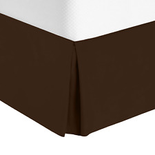 Luxury Pleated Tailored Bed Skirt - 14� Drop Dust Ruffle, Full Xl - Chocolate
