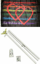 3x5 Hate Will Not Win Gay Pride Rainbow Flag White Pole Kit Set 3'x5'