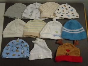 BABY NEWBORN ASSORTED CAPS HATS LOT OF 11 CARTER'S SWADDLE DESIGNS BABYGEAR