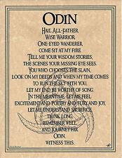 PRAYER TO ODIN Scandanavian Nordic God Invocation Page Poster  Pagan 8 1/2 x 11