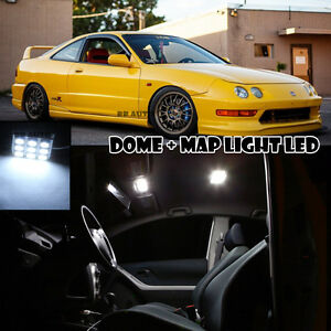 For 94-01 Acura Honda Integra Dome + Map Reading Interior LED Light Bulbs Xenon