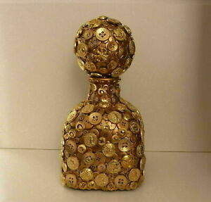 "Glass Bottle with gold buttons 13""H - Home  Decor"