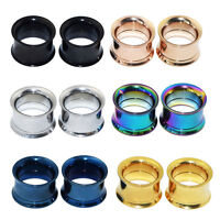6PAIR Stainless Steel Screw Ear Gauges Tunnels Plugs Expander 6 Colors Same Size