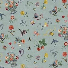 Sew Retro Vintage Style Haberdashery Embroidery 100% Cotton Fabric  Makower  FQ