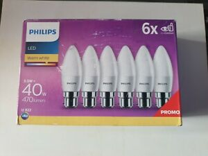 Philips LED B22 Candle Light Bulbs 5.5 W (40 W) Warm White, Pack of 6
