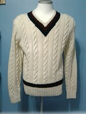 Polo by Ralph Lauren Large 100% Wool V Neck Cable Knit Sweater White Blue Red