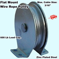 Wire Rope Pulley Block Flat Mount For Cable 600 Lb Load Cap Zinc Plated Steel