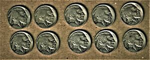 1918 thru 1936-d/s Indian Head/Buffalo nickel 10 coin lot AG thru Fine
