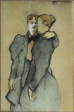 TOULOUSE LAUTREC (1864-1901) impressionniste français Lithographie deux femmes