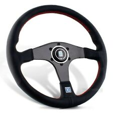 "NARDI Torino 14"" Black Leather Carbon Fiber Dished Steering Wheel with Horn"