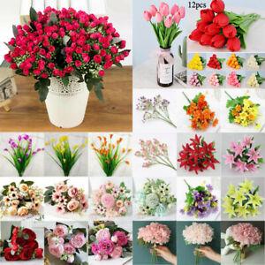Vintage Artificial Silk Peony Tulip Flower Bouquet Home Wedding Party Art Decor