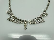 DIVINE Vintage Clear Glass Rhinestone Fringe Necklace- HOLIDAY Magic- ESTATE
