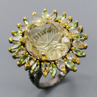 Citrine Quartz Ring Silver 925 Sterling 19x16 mm. Carving  Size 8.5 /R145573