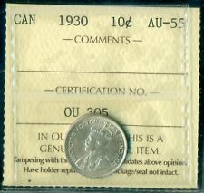 1930 Canada King George V Ten Cent, ICCS AU-55   T253